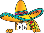 Clip Art Graphic of a Crunchy Hard Taco Character Peeking Over a Surface