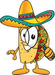 Clip Art Graphic of a Crunchy Hard Taco Character Looking Through a Magnifying Glass