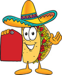 Clip Art Graphic of a Crunchy Hard Taco Character Holding a Red Sales Price Tag