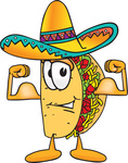 Clip Art Graphic of a Crunchy Hard Taco Character Flexing His Arm Muscles