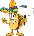 Clip Art Graphic of a Crunchy Hard Taco Character Holding a Blank Sign