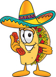 Clip Art Graphic of a Crunchy Hard Taco Character Holding a Telephone