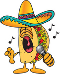 Clip Art Graphic of a Crunchy Hard Taco Character Singing Loud Into a Microphone