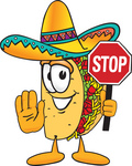 Clip Art Graphic of a Crunchy Hard Taco Character Holding a Stop Sign