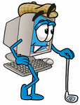 Clipart Picture of a Desktop Computer Mascot Cartoon Character Leaning on a Golf Club While Golfing