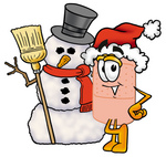 Clip art Graphic of a Bandaid Bandage Cartoon Character With a Snowman on Christmas