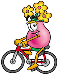 Clip Art Graphic of a Pink Vase And Yellow Flowers Cartoon Character Riding a Bicycle