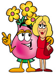 Clip Art Graphic of a Pink Vase And Yellow Flowers Cartoon Character Talking to a Pretty Blond Woman
