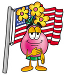 Clip Art Graphic of a Pink Vase And Yellow Flowers Cartoon Character Pledging Allegiance to an American Flag