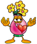 Clip Art Graphic of a Pink Vase And Yellow Flowers Cartoon Character With His Heart Beating Out of His Chest