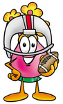 Clip Art Graphic of a Pink Vase And Yellow Flowers Cartoon Character in a Helmet, Holding a Football