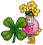 Clip Art Graphic of a Pink Vase And Yellow Flowers Cartoon Character With a Green Four Leaf Clover on St Paddy's or St Patricks Day