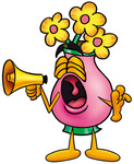 Clip Art Graphic of a Pink Vase And Yellow Flowers Cartoon Character Screaming Into a Megaphone