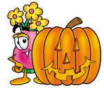 Clip Art Graphic of a Pink Vase And Yellow Flowers Cartoon Character With a Carved Halloween Pumpkin