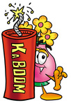 Clip Art Graphic of a Pink Vase And Yellow Flowers Cartoon Character Standing With a Lit Stick of Dynamite