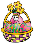 Clip Art Graphic of a Pink Vase And Yellow Flowers Cartoon Character in an Easter Basket Full of Decorated Easter Eggs