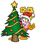 Clip Art Graphic of a Pink Vase And Yellow Flowers Cartoon Character Waving and Standing by a Decorated Christmas Tree