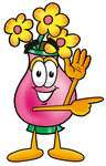 Clip Art Graphic of a Pink Vase And Yellow Flowers Cartoon Character Waving and Pointing