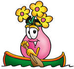Clip Art Graphic of a Pink Vase And Yellow Flowers Cartoon Character Rowing a Boat