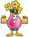 Clip Art Graphic of a Pink Vase And Yellow Flowers Cartoon Character Flexing His Arm Muscles