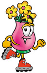 Clip Art Graphic of a Pink Vase And Yellow Flowers Cartoon Character Roller Blading on Inline Skates