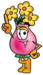 Clip Art Graphic of a Pink Vase And Yellow Flowers Cartoon Character Pointing Upwards