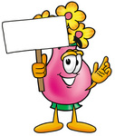 Clip Art Graphic of a Pink Vase And Yellow Flowers Cartoon Character Holding a Blank Sign
