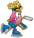 Clip Art Graphic of a Pink Vase And Yellow Flowers Cartoon Character Playing Ice Hockey