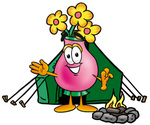 Clip Art Graphic of a Pink Vase And Yellow Flowers Cartoon Character Camping With a Tent and Fire
