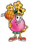 Clip Art Graphic of a Pink Vase And Yellow Flowers Cartoon Character Spinning a Basketball on His Finger