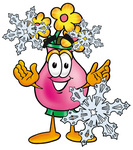 Clip Art Graphic of a Pink Vase And Yellow Flowers Cartoon Character With Three Snowflakes in Winter