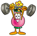 Clip Art Graphic of a Pink Vase And Yellow Flowers Cartoon Character Holding a Heavy Barbell Above His Head
