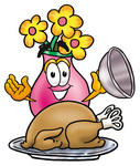 Clip Art Graphic of a Pink Vase And Yellow Flowers Cartoon Character Serving a Thanksgiving Turkey on a Platter