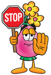 Clip Art Graphic of a Pink Vase And Yellow Flowers Cartoon Character Holding a Stop Sign