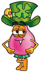 Clip Art Graphic of a Pink Vase And Yellow Flowers Cartoon Character Wearing a Saint Patricks Day Hat With a Clover on it
