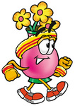 Clip Art Graphic of a Pink Vase And Yellow Flowers Cartoon Character Speed Walking or Jogging