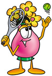 Clip Art Graphic of a Pink Vase And Yellow Flowers Cartoon Character Preparing to Hit a Tennis Ball