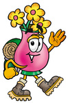Clip Art Graphic of a Pink Vase And Yellow Flowers Cartoon Character Hiking and Carrying a Backpack