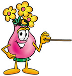 Clip Art Graphic of a Pink Vase And Yellow Flowers Cartoon Character Holding a Pointer Stick