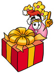 Clip Art Graphic of a Pink Vase And Yellow Flowers Cartoon Character Standing by a Christmas Present