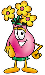 Clip Art Graphic of a Pink Vase And Yellow Flowers Cartoon Character Pointing at the Viewer