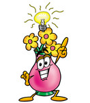 Clip Art Graphic of a Pink Vase And Yellow Flowers Cartoon Character With a Bright Idea
