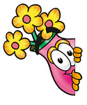 Clip Art Graphic of a Pink Vase And Yellow Flowers Cartoon Character Peeking Around a Corner