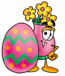 Clip Art Graphic of a Pink Vase And Yellow Flowers Cartoon Character Standing Beside an Easter Egg