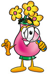 Clip Art Graphic of a Pink Vase And Yellow Flowers Cartoon Character Looking Through a Magnifying Glass