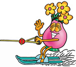 Clip Art Graphic of a Pink Vase And Yellow Flowers Cartoon Character Waving While Water Skiing