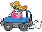Clip Art Graphic of a Pink Vase And Yellow Flowers Cartoon Character Driving a Blue Car and Waving