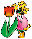 Clip Art Graphic of a Pink Vase And Yellow Flowers Cartoon Character With a Red Tulip Flower in the Spring