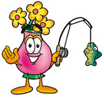 Clip Art Graphic of a Pink Vase And Yellow Flowers Cartoon Character Holding a Fish on a Fishing Pole