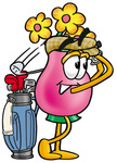 Clip Art Graphic of a Pink Vase And Yellow Flowers Cartoon Character Swinging His Golf Club While Golfing
